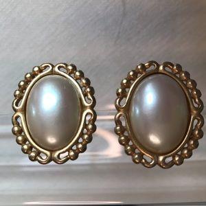 Vintage YSL Elegant Clip Oval Pearl Earrings Gold
